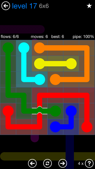 Solution and Answer to the Puzzle for Bridges Blue Pack Set 6x6 Level 17