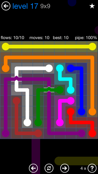 Solution and Answer to the Puzzle for Bridges Blue Pack Set 9x9 Level 17