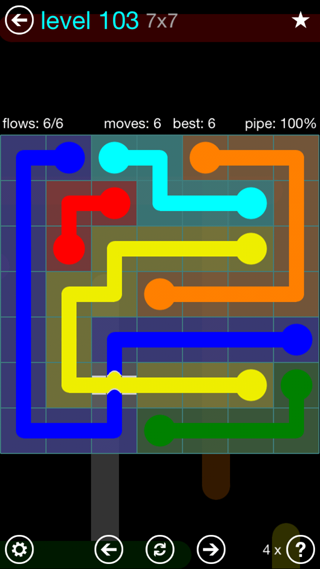 Solution and Answer to the Puzzle for Bridges Interval Pack Set 6x6 Level 103