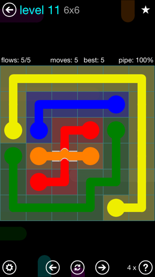 Solution and Answer to the Puzzle for Bridges Interval Pack Set 6x6 Level 11