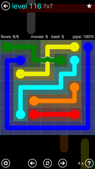 Solution and Answer to the Puzzle for Bridges Interval Pack Set 6x6 Level 116