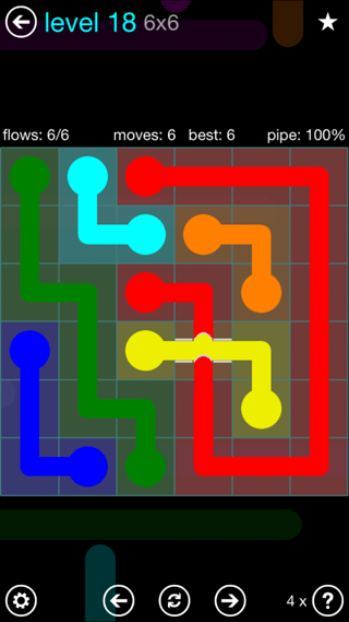 Solution and Answer to the Puzzle for Bridges Interval Pack Set 6x6 Level 18