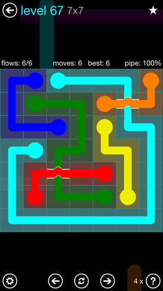 Solution and Answer to the Puzzle for Bridges Interval Pack Set 6x6 Level 67