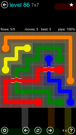 Solution and Answer to the Puzzle for Bridges Interval Pack Set 6x6 Level 86