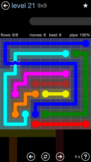 Solution and Answer to the Puzzle for Bridges Rainbow Pack Set 5x5 Level 21