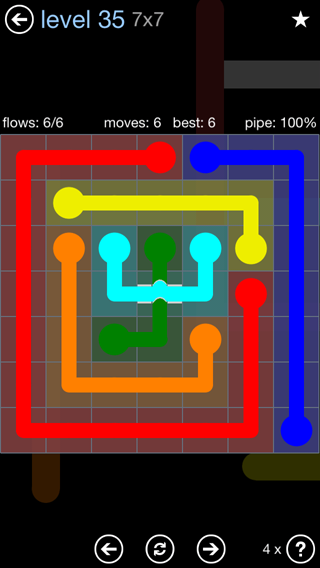 Solution and Answer to the Puzzle for Bridges Rainbow Pack Set 5x5 Level 35