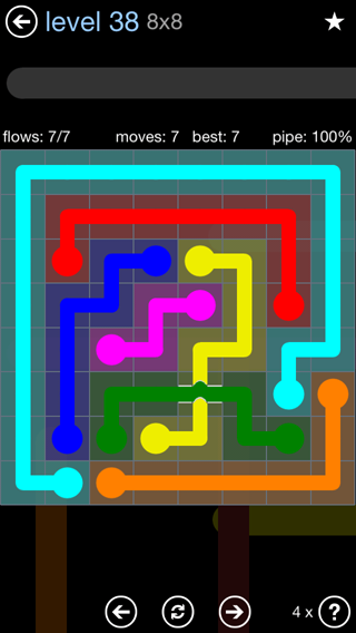 Solution and Answer to the Puzzle for Bridges Rainbow Pack Set 5x5 Level 38