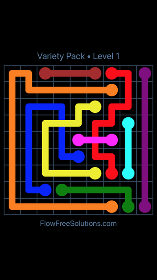 Solution and Answer to the Puzzle for Flow Free: Bridges Variety Pack Level 1
