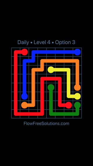 Solution and Answer to the Puzzle for Flow Date Saturday, April 14, 2018 Level 4