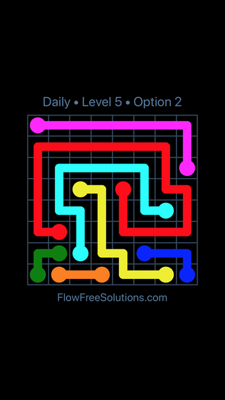 Solution and Answer to the Puzzle for Flow Date Saturday, June 11, 2016 Level 5