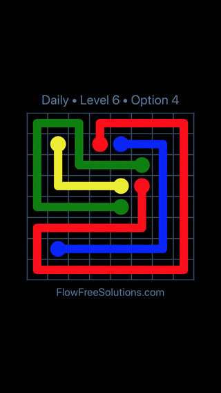 Solution and Answer to the Puzzle for Flow Date Saturday, March 19, 2016 Level 6