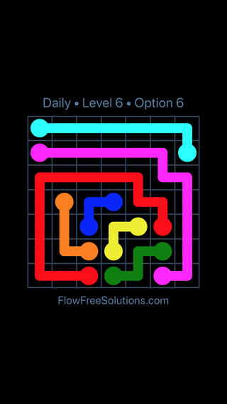 Solution and Answer to the Puzzle for Flow Date Monday, June 13, 2016 Level 6