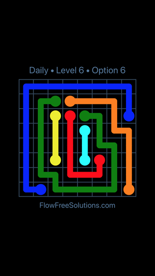 Solution and Answer to the Puzzle for Flow Date Tuesday, June 14, 2016 Level 6