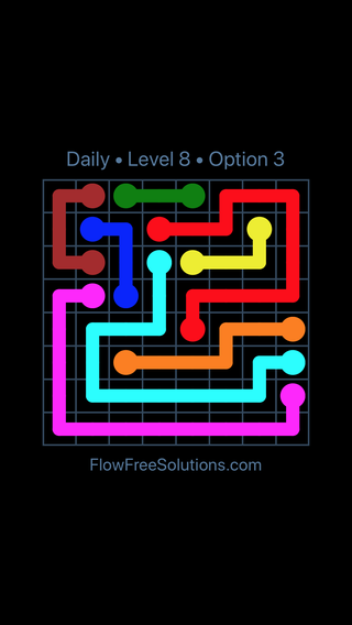 Solution and Answer to the Puzzle for Flow Date Wednesday, June 15, 2016 Level 8