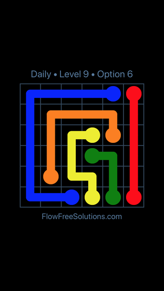 Solution and Answer to the Puzzle for Flow Date Friday, March 25, 2016 Level 9