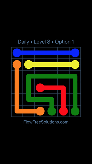 Solution and Answer to the Puzzle for Flow Date Wednesday, March 30, 2016 Level 8