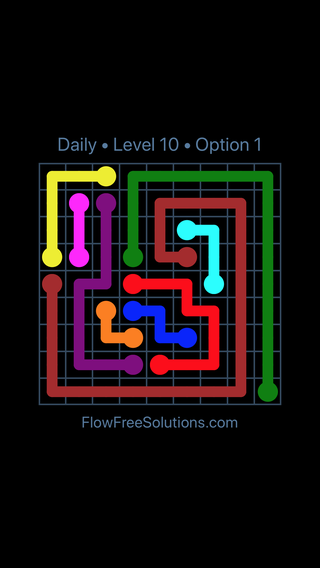 Solution and Answer to the Puzzle for Flow Date Saturday, June 25, 2016 Level 10