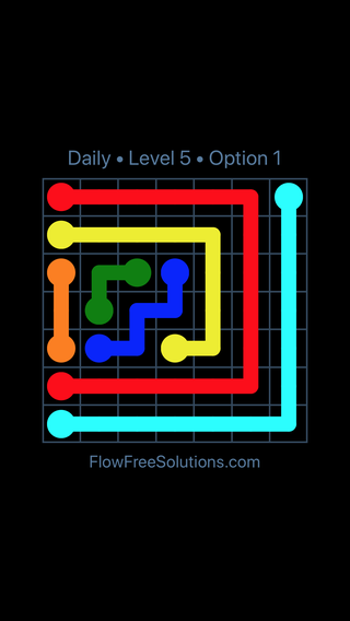 Solution and Answer to the Puzzle for Flow Date Saturday, June 25, 2016 Level 5