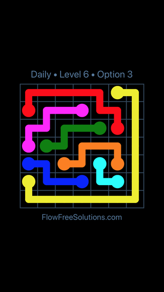 Solution and Answer to the Puzzle for Flow Date Saturday, April 2, 2016 Level 6