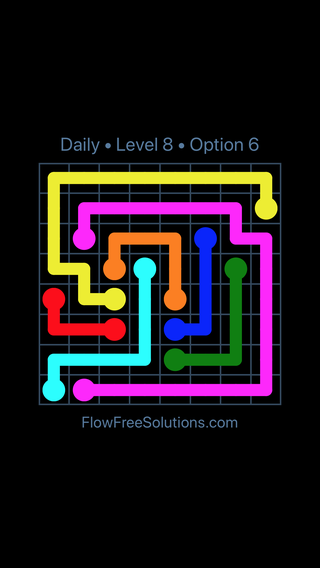 Solution and Answer to the Puzzle for Flow Date Saturday, April 2, 2016 Level 8