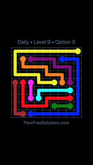 Solution and Answer to the Puzzle for Flow Date Saturday, October 13, 2018 Level 9