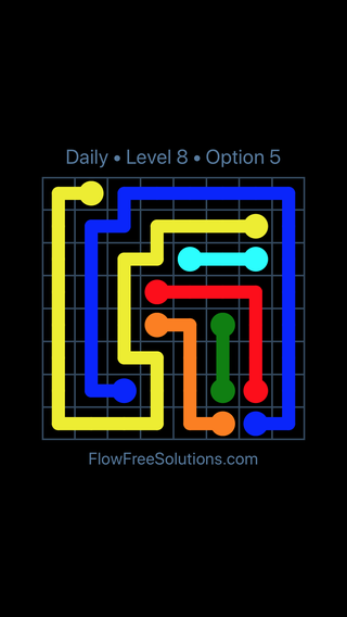 Solution and Answer to the Puzzle for Flow Date Sunday, June 26, 2016 Level 8