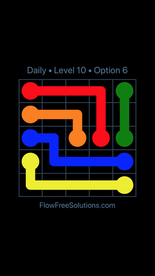 Solution and Answer to the Puzzle for Flow Date Monday, April 4, 2016 Level 10