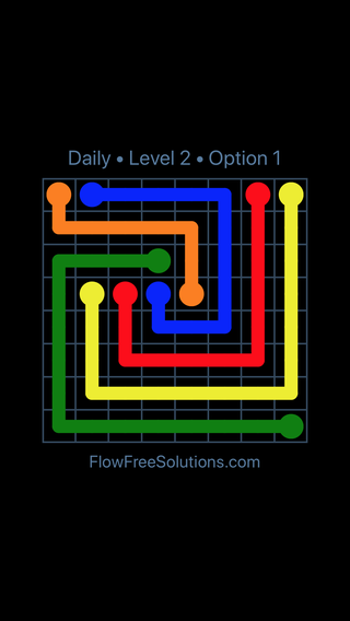 Solution and Answer to the Puzzle for Flow Date Saturday, April 9, 2016 Level 2