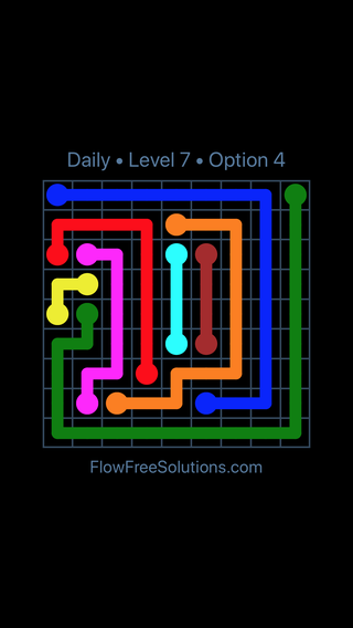 Solution and Answer to the Puzzle for Flow Date Monday, July 4, 2016 Level 7