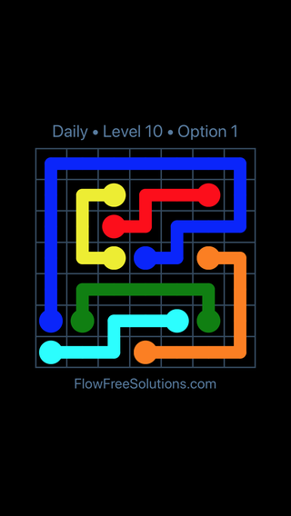 Solution and Answer to the Puzzle for Flow Date Thursday, July 7, 2016 Level 10