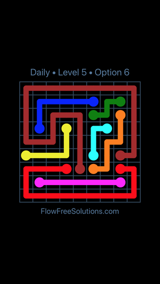 Solution and Answer to the Puzzle for Flow Date Thursday, March 10, 2016 Level 5