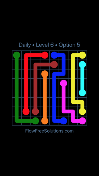 Solution and Answer to the Puzzle for Flow Date Friday, July 8, 2016 Level 6