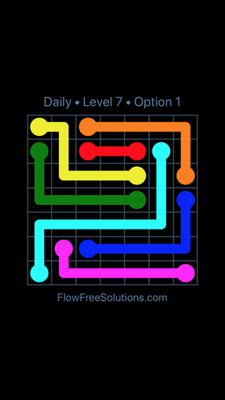 Solution and Answer to the Puzzle for Flow Date Friday, April 15, 2016 Level 7