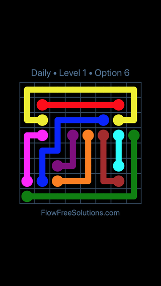 Solution and Answer to the Puzzle for Flow Date Saturday, July 9, 2016 Level 1