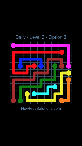 Solution and Answer to the Puzzle for Flow Date Saturday, July 9, 2016 Level 3