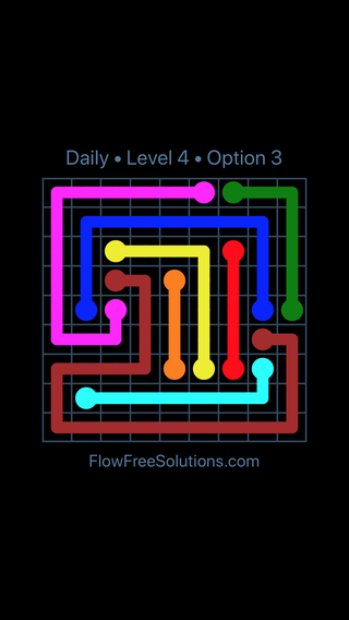 Solution and Answer to the Puzzle for Flow Date Saturday, July 9, 2016 Level 4