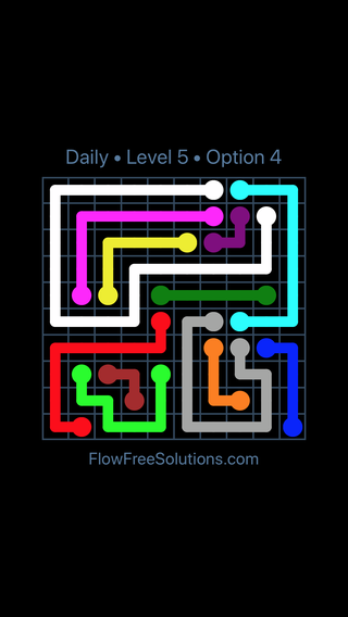 Solution and Answer to the Puzzle for Flow Date Saturday, April 16, 2016 Level 5