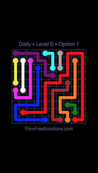 Solution and Answer to the Puzzle for Flow Date Saturday, April 16, 2016 Level 6