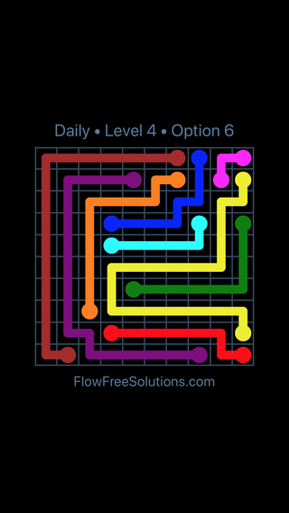 Solution and Answer to the Puzzle for Flow Date Sunday, July 10, 2016 Level 4