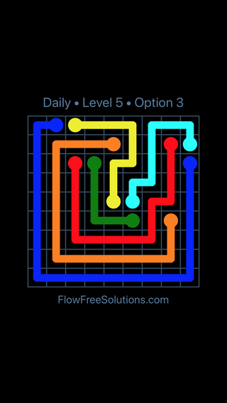 Solution and Answer to the Puzzle for Flow Date Sunday, July 10, 2016 Level 5