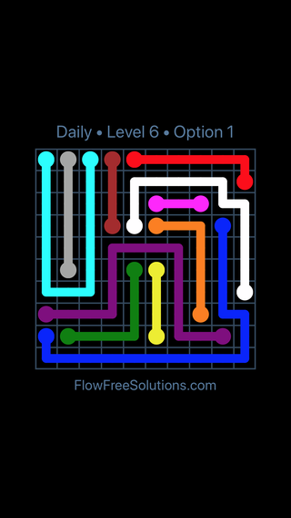 Solution and Answer to the Puzzle for Flow Date Sunday, April 17, 2016 Level 6