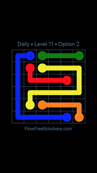 Solution and Answer to the Puzzle for Flow Date Monday, July 11, 2016 Level 11