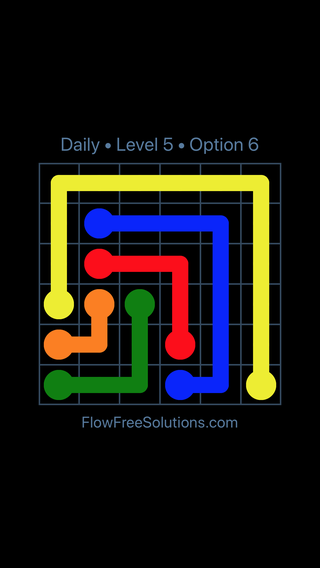 Solution and Answer to the Puzzle for Flow Date Monday, April 18, 2016 Level 5
