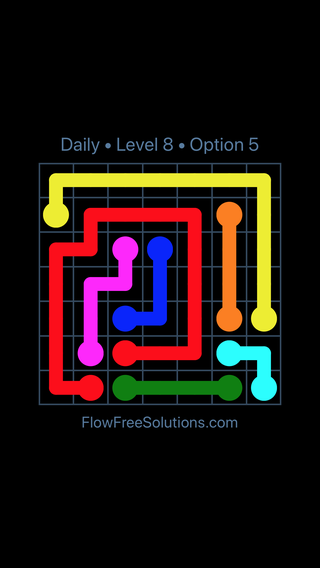Solution and Answer to the Puzzle for Flow Date Tuesday, August 7, 2018 Level 8