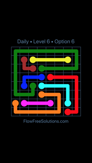 Solution and Answer to the Puzzle for Flow Date Wednesday, April 20, 2016 Level 6