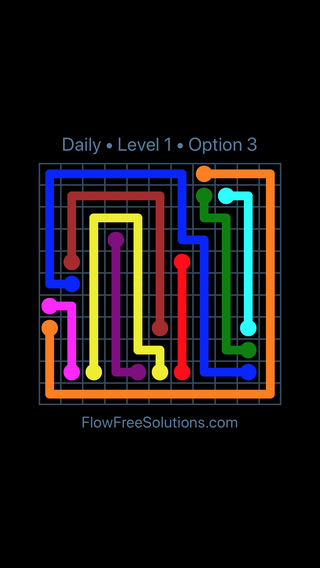 Solution and Answer to the Puzzle for Flow Date Saturday, April 23, 2016 Level 1