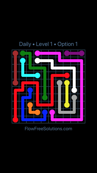 Solution and Answer to the Puzzle for Flow Date Friday, June 3, 2016 Level 1