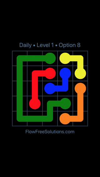 Solution and Answer to the Puzzle for Flow Date Monday, April 25, 2016 Level 1