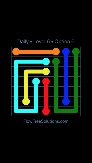 Solution and Answer to the Puzzle for Flow Date Tuesday, July 19, 2016 Level 6