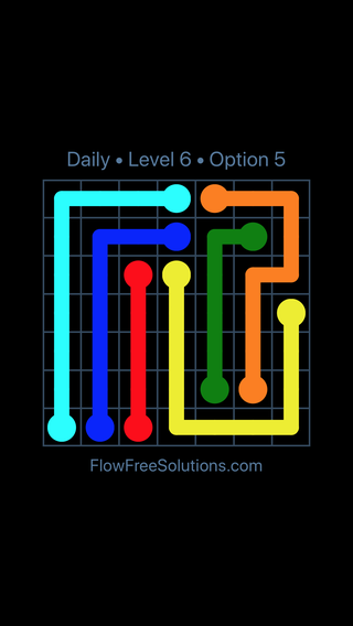 Solution and Answer to the Puzzle for Flow Date Wednesday, April 27, 2016 Level 6